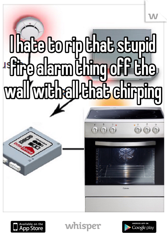 I hate to rip that stupid fire alarm thing off the wall with all that chirping