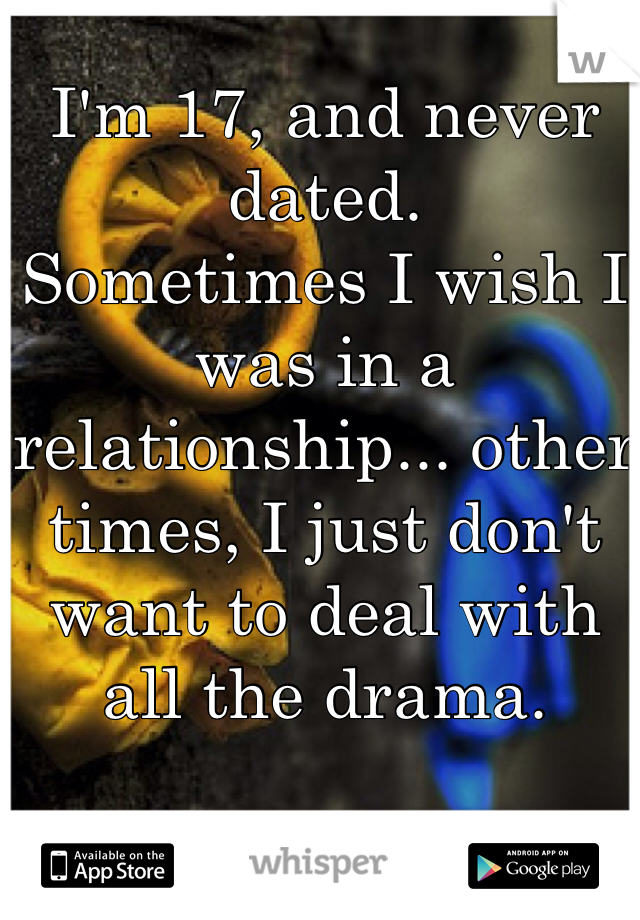 I'm 17, and never dated. Sometimes I wish I was in a relationship... other times, I just don't want to deal with all the drama.