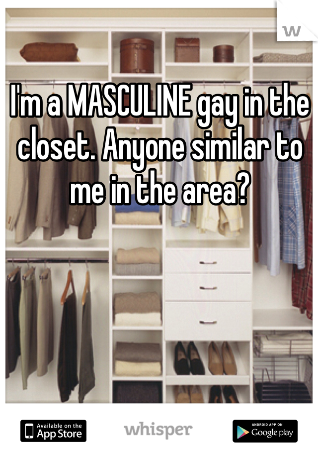 I'm a MASCULINE gay in the closet. Anyone similar to me in the area?