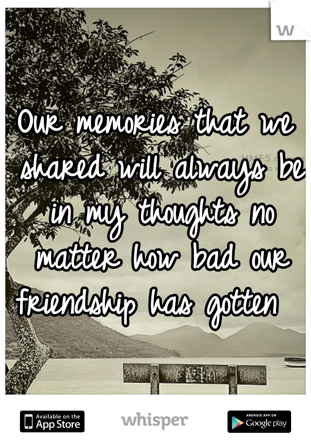 Our memories that we shared will always be in my thoughts no matter how bad our friendship has gotten