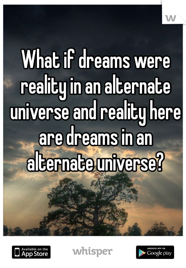 What if dreams were reality in an alternate universe and reality here are dreams in an alternate universe?