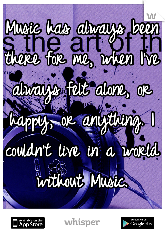 Music has always been there for me, when I've always felt alone, or happy, or anything. I couldn't live in a world without Music.
