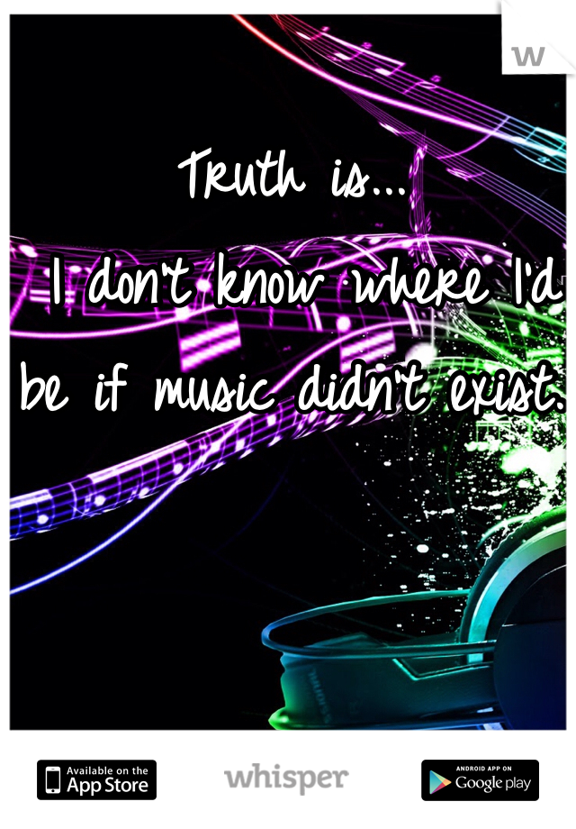 Truth is...  I don't know where I'd be if music didn't exist.