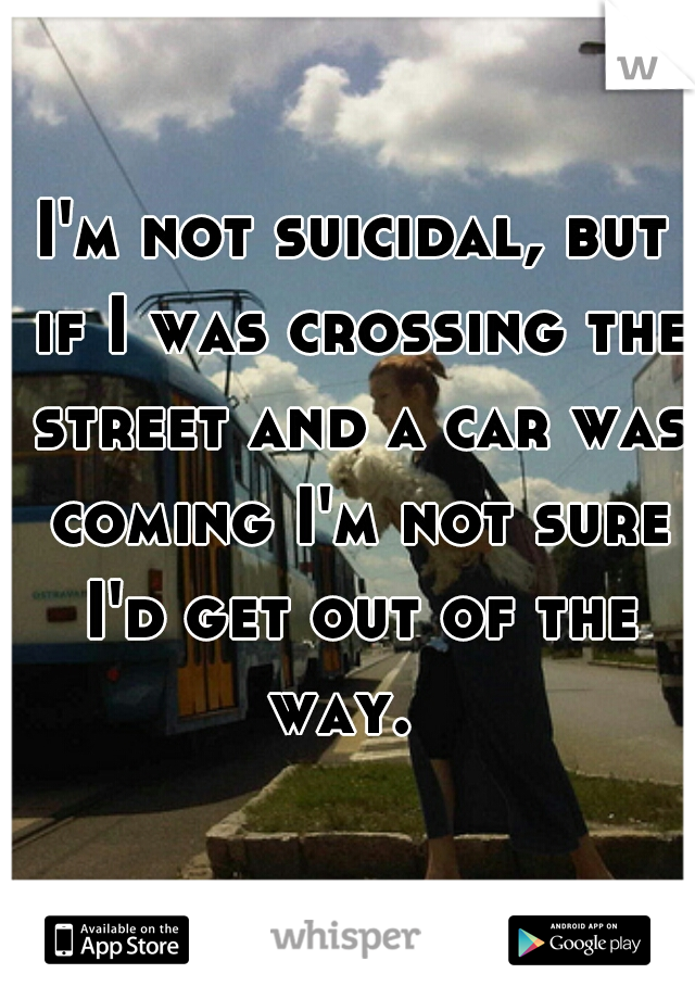 I'm not suicidal, but if I was crossing the street and a car was coming I'm not sure I'd get out of the way.