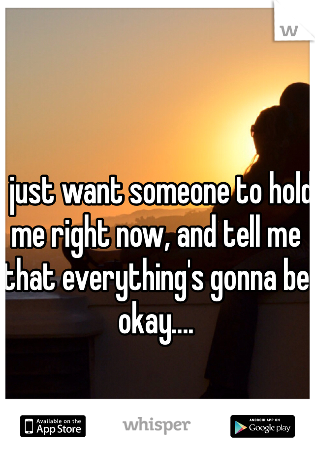 I just want someone to hold me right now, and tell me that everything's gonna be okay....
