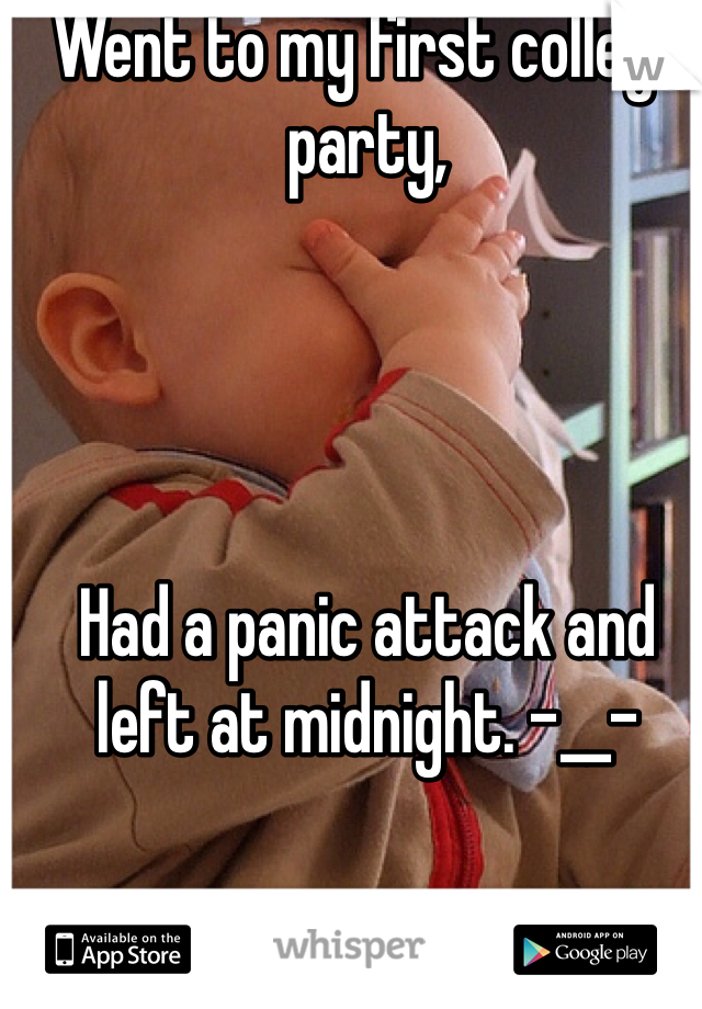 Went to my first college party,     Had a panic attack and left at midnight. -__-