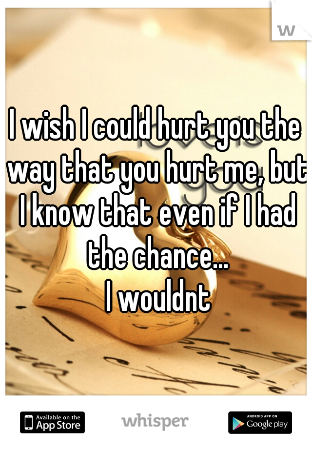 I wish I could hurt you the way that you hurt me, but I know that even if I had the chance...   I wouldnt