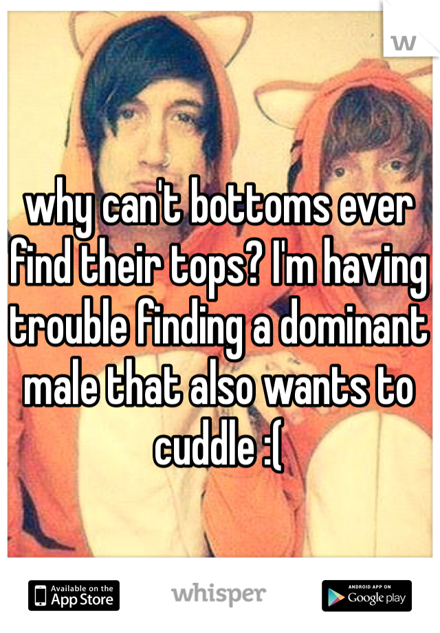 why can't bottoms ever find their tops? I'm having trouble finding a dominant male that also wants to cuddle :(