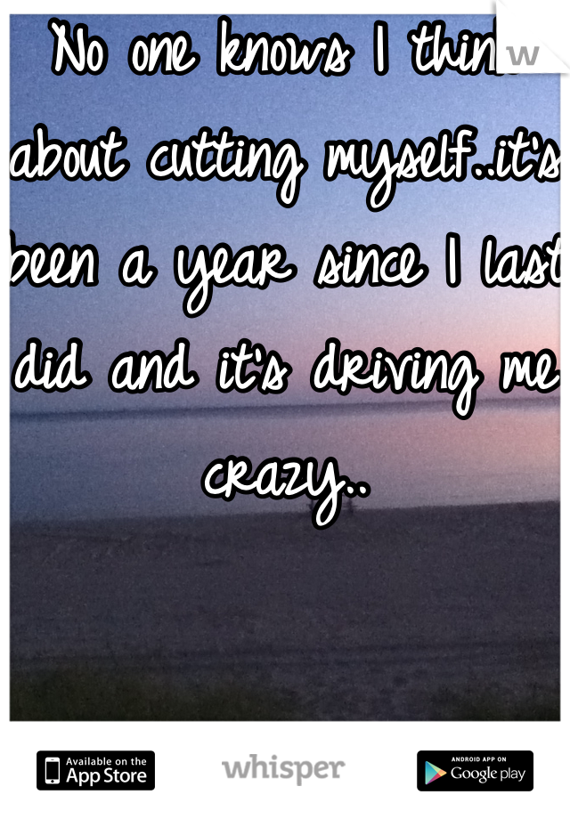 No one knows I think about cutting myself..it's been a year since I last did and it's driving me crazy..
