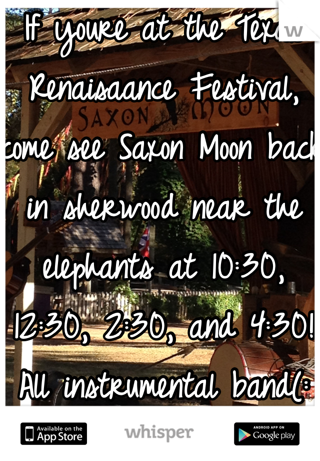 If youre at the Texas Renaisaance Festival, come see Saxon Moon back in sherwood near the elephants at 10:30, 12:30, 2:30, and 4:30! All instrumental band(: