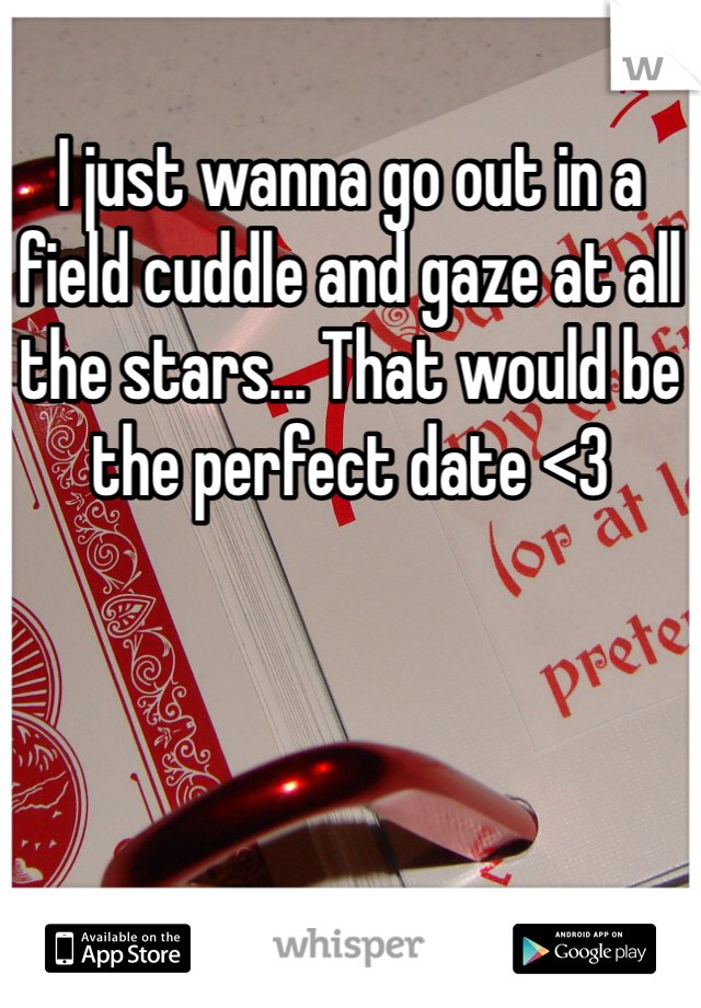 I just wanna go out in a field cuddle and gaze at all the stars... That would be the perfect date <3