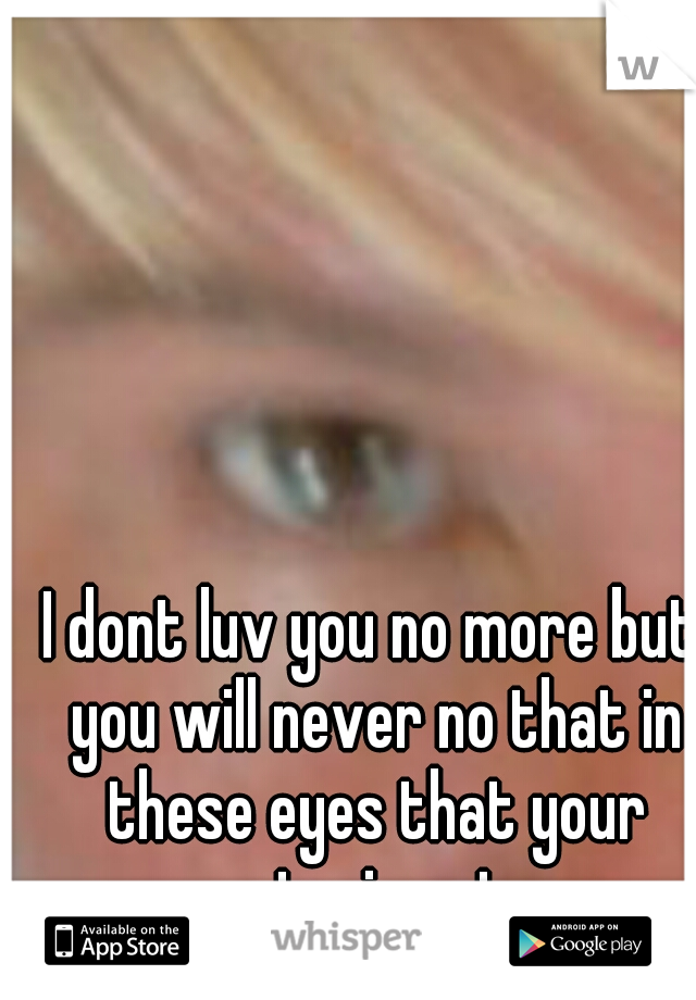I dont luv you no more but you will never no that in these eyes that your staring at