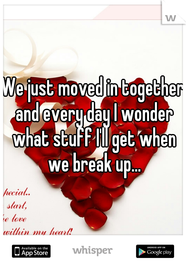 We just moved in together and every day I wonder what stuff I'll get when we break up...
