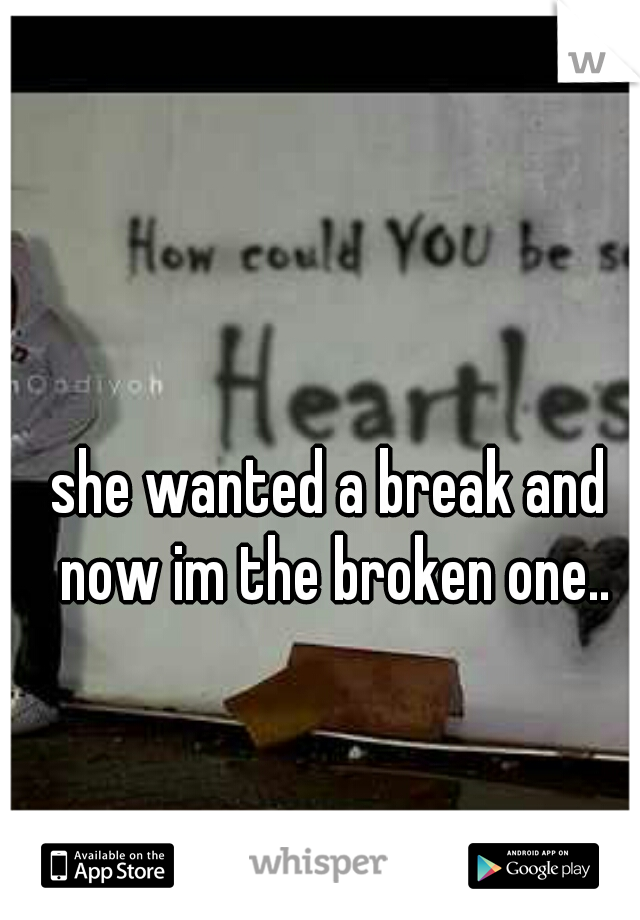she wanted a break and now im the broken one..