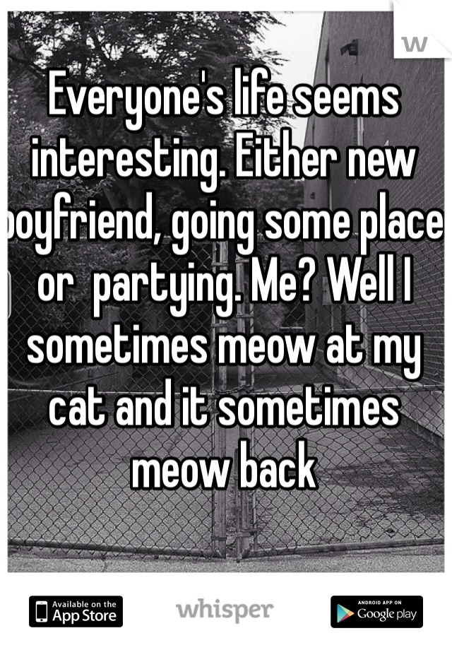 Everyone's life seems interesting. Either new boyfriend, going some place or  partying. Me? Well I sometimes meow at my cat and it sometimes meow back