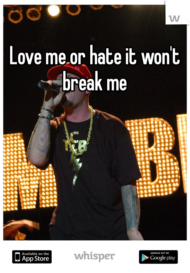Love me or hate it won't break me