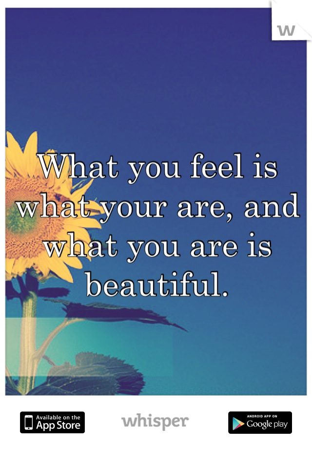 What you feel is what your are, and what you are is beautiful.