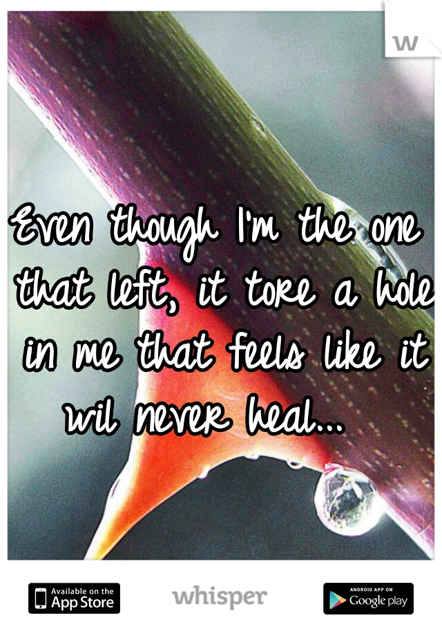 Even though I'm the one that left, it tore a hole in me that feels like it wil never heal...