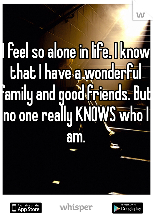 I feel so alone in life. I know that I have a wonderful family and good friends. But no one really KNOWS who I am.