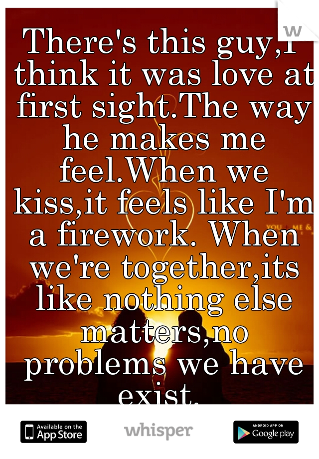 There's this guy,I think it was love at first sight.The way he makes me feel.When we kiss,it feels like I'm a firework. When we're together,its like nothing else matters,no problems we have exist.
