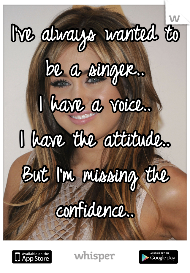 I've always wanted to be a singer.. I have a voice.. I have the attitude.. But I'm missing the confidence..
