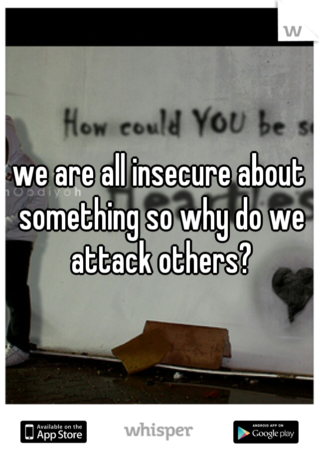 we are all insecure about something so why do we attack others?