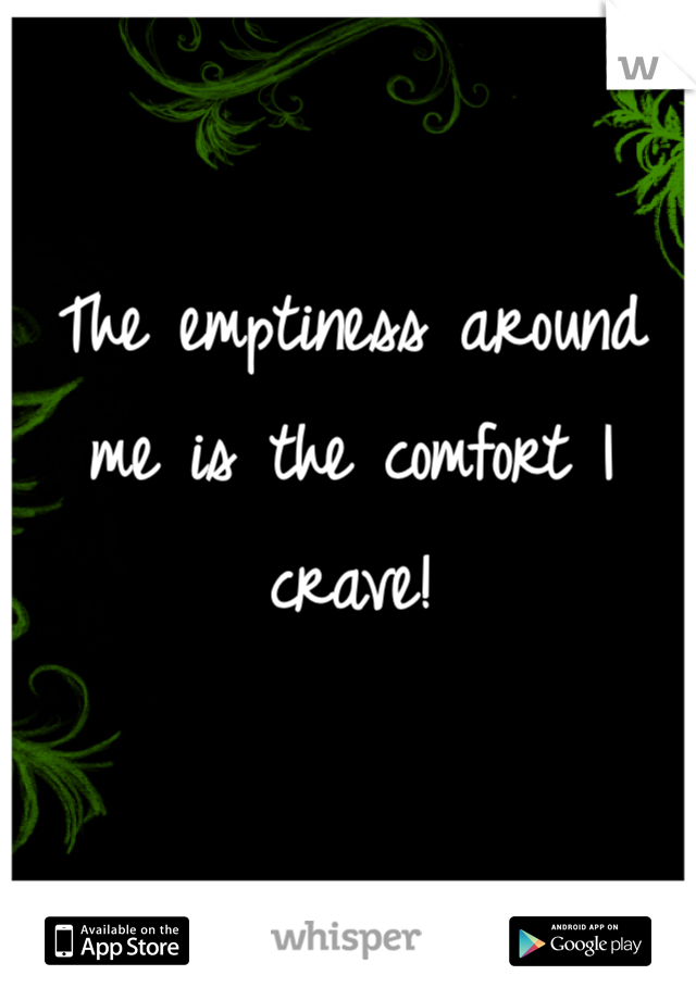 The emptiness around me is the comfort I crave!