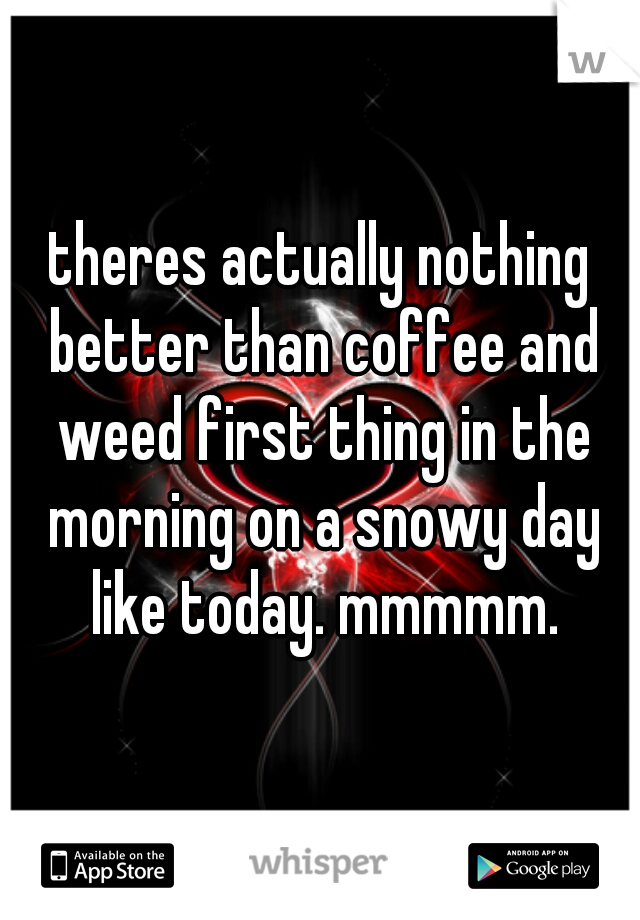 theres actually nothing better than coffee and weed first thing in the morning on a snowy day like today. mmmmm.