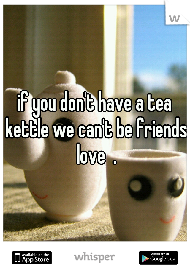 if you don't have a tea kettle we can't be friends love  .