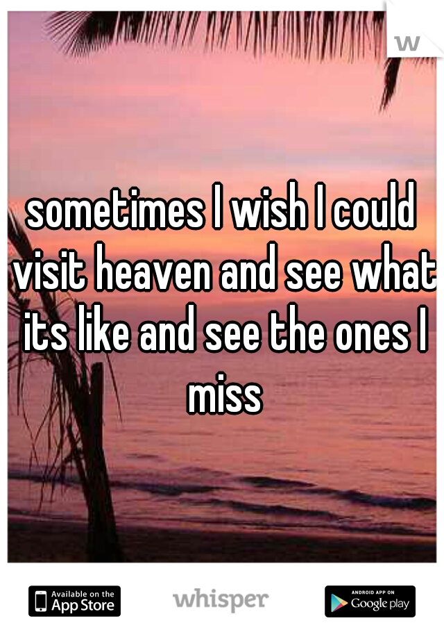 sometimes I wish I could visit heaven and see what its like and see the ones I miss