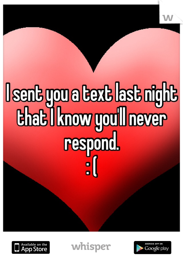 I sent you a text last night that I know you'll never respond. : (