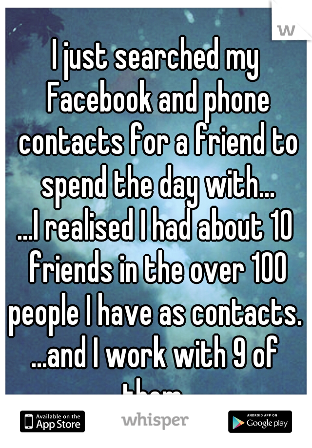 I just searched my Facebook and phone contacts for a friend to spend the day with...  ...I realised I had about 10 friends in the over 100 people I have as contacts.   ...and I work with 9 of them.
