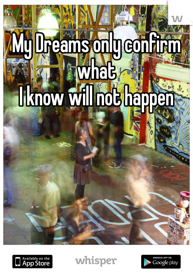 My Dreams only confirm what  I know will not happen
