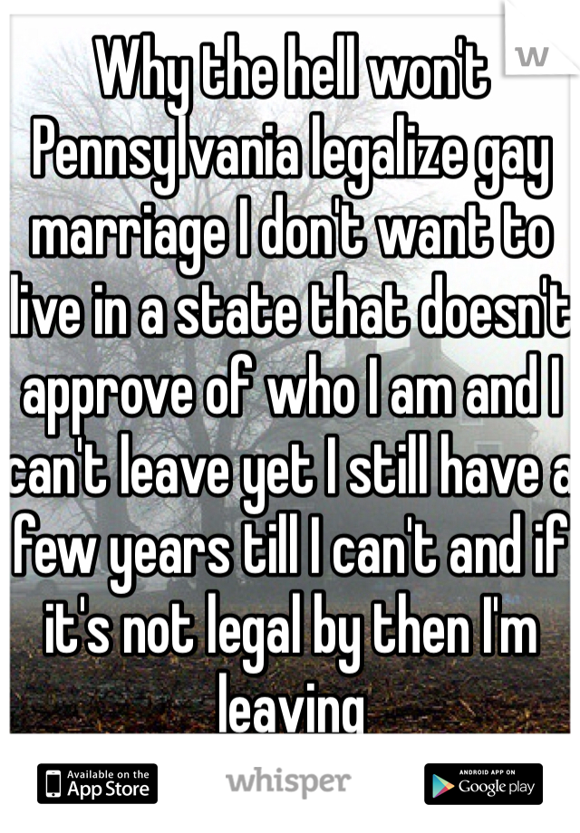 Why the hell won't Pennsylvania legalize gay marriage I don't want to live in a state that doesn't approve of who I am and I can't leave yet I still have a few years till I can't and if it's not legal by then I'm leaving
