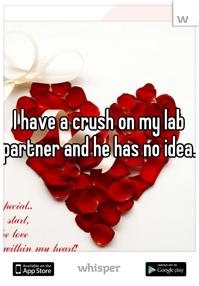 I have a crush on my lab partner and he has no idea.