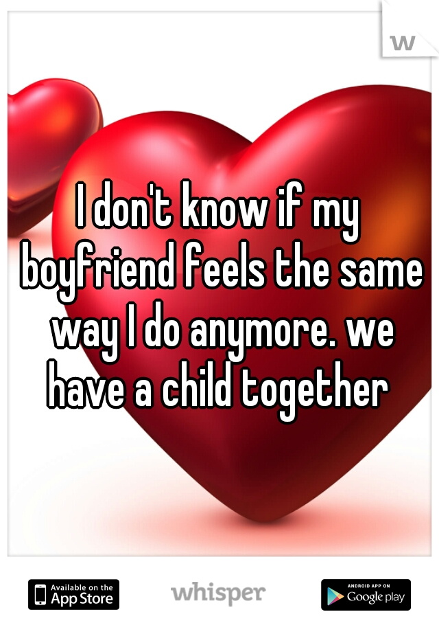 I don't know if my boyfriend feels the same way I do anymore. we have a child together