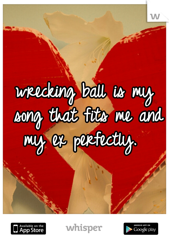 wrecking ball is my song that fits me and my ex perfectly.