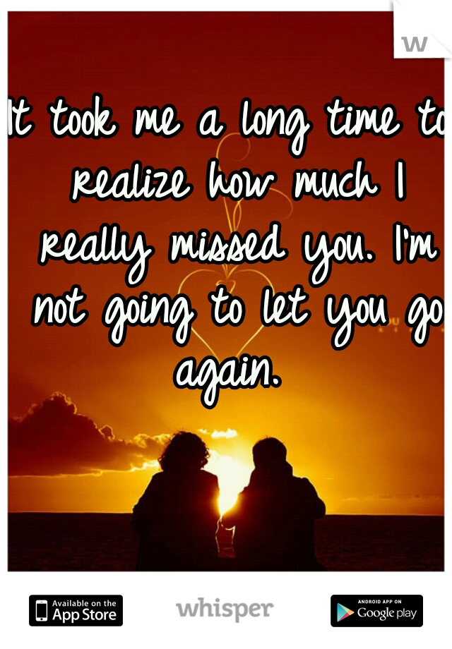 It took me a long time to realize how much I really missed you. I'm not going to let you go again.