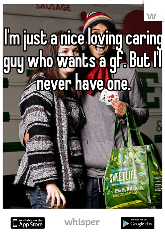 I'm just a nice loving caring guy who wants a gf. But I'll never have one.