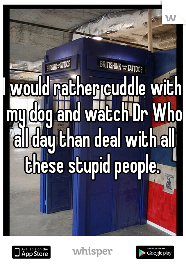 I would rather cuddle with my dog and watch Dr Who all day than deal with all these stupid people.