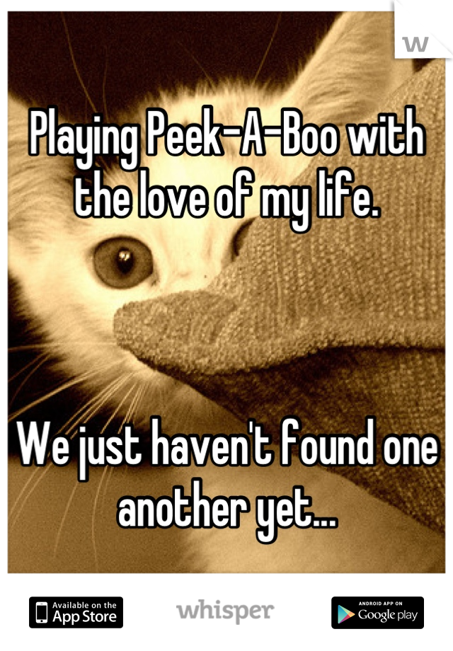 Playing Peek-A-Boo with the love of my life.     We just haven't found one another yet...