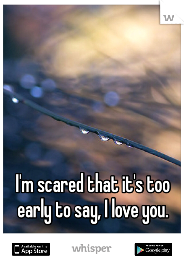 I'm scared that it's too early to say, I love you.