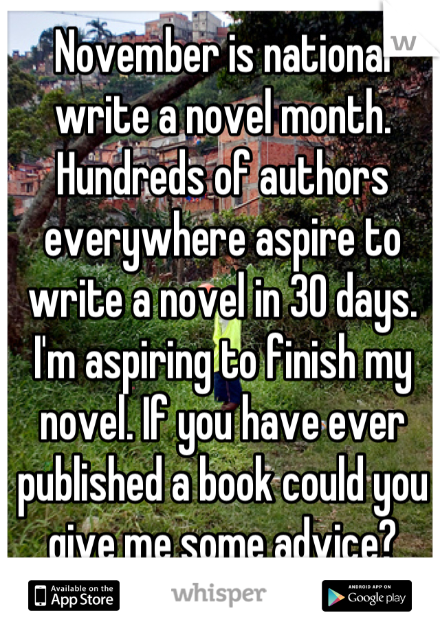 November is national write a novel month. Hundreds of authors everywhere aspire to write a novel in 30 days. I'm aspiring to finish my novel. If you have ever published a book could you give me some advice?