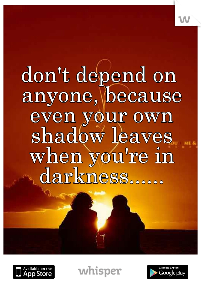 don't depend on anyone, because even your own shadow leaves when you're in darkness......