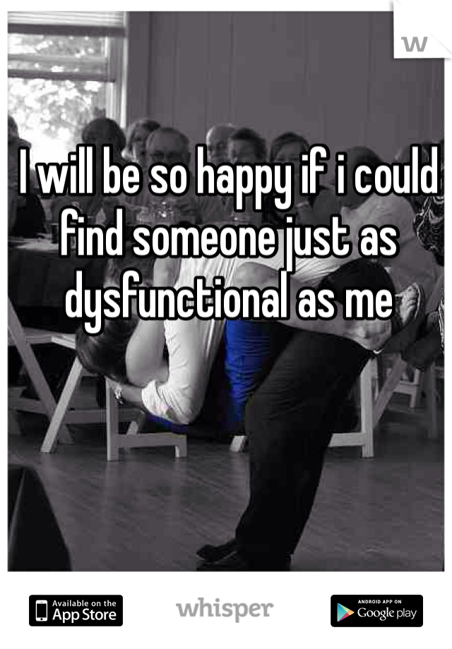 I will be so happy if i could find someone just as dysfunctional as me