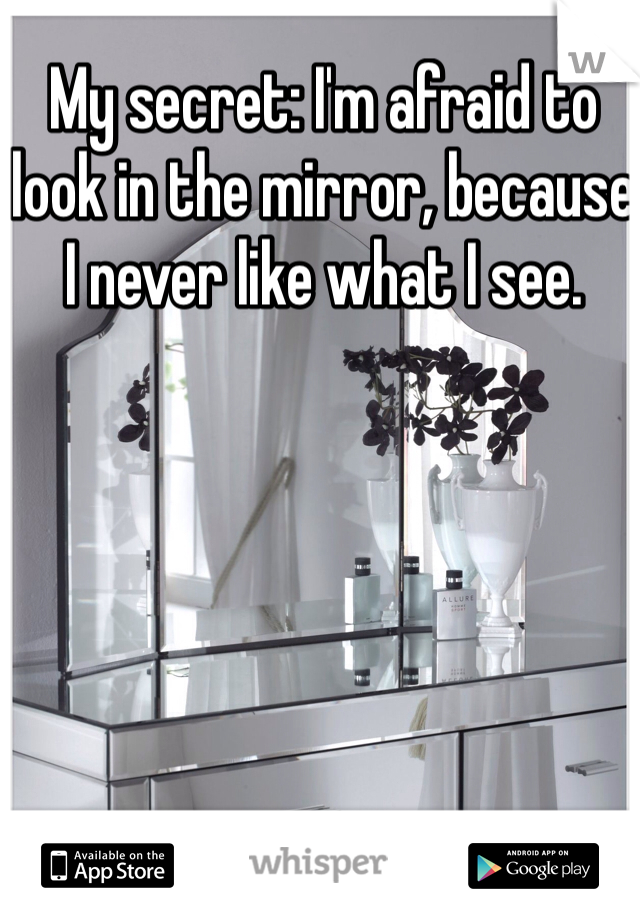 My secret: I'm afraid to look in the mirror, because I never like what I see.