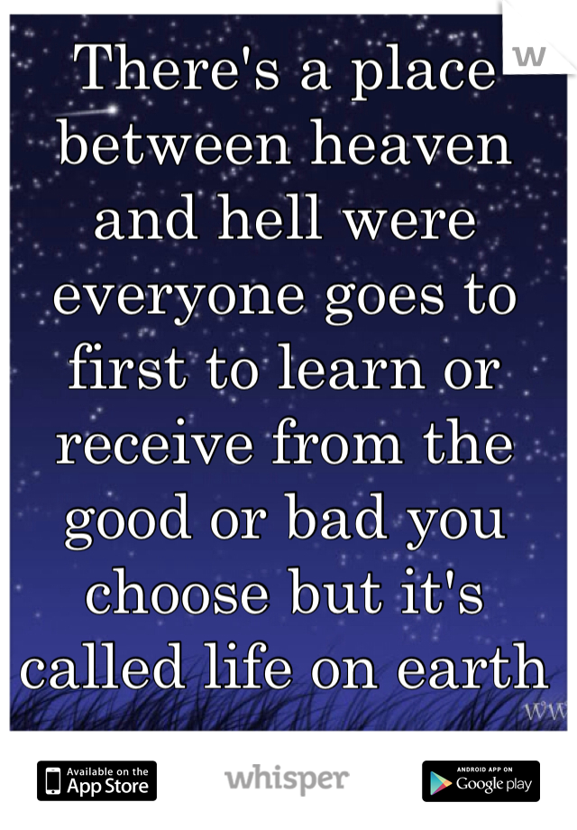 There's a place between heaven and hell were everyone goes to first to learn or receive from the good or bad you choose but it's called life on earth