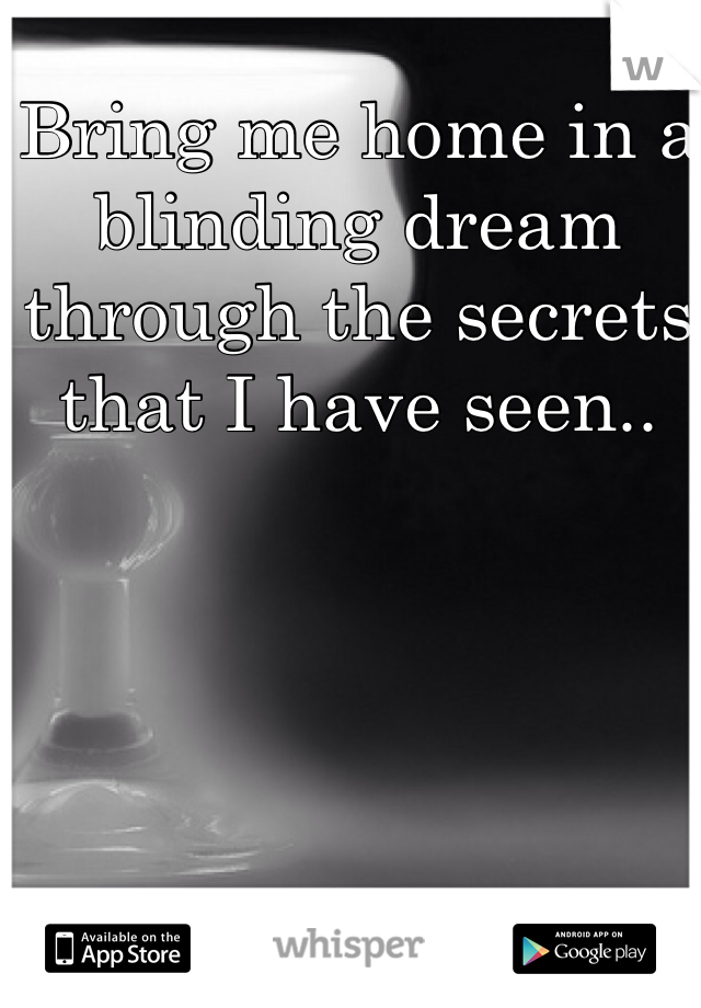 Bring me home in a blinding dream through the secrets that I have seen..