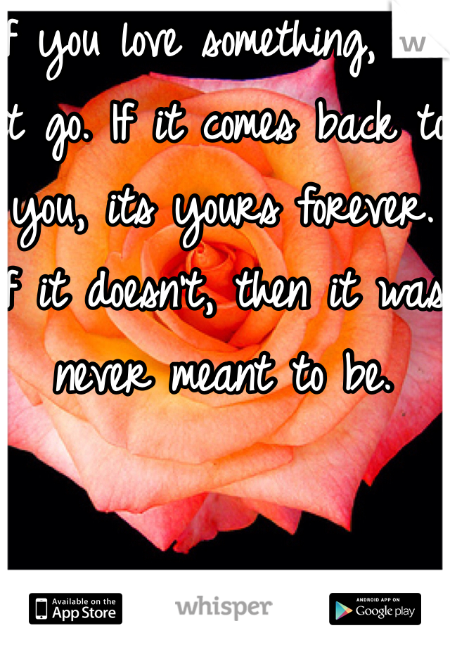 If you love something, let it go. If it comes back to you, its yours forever. If it doesn't, then it was never meant to be.