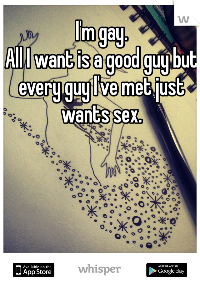 I'm gay.  All I want is a good guy but every guy I've met just wants sex.